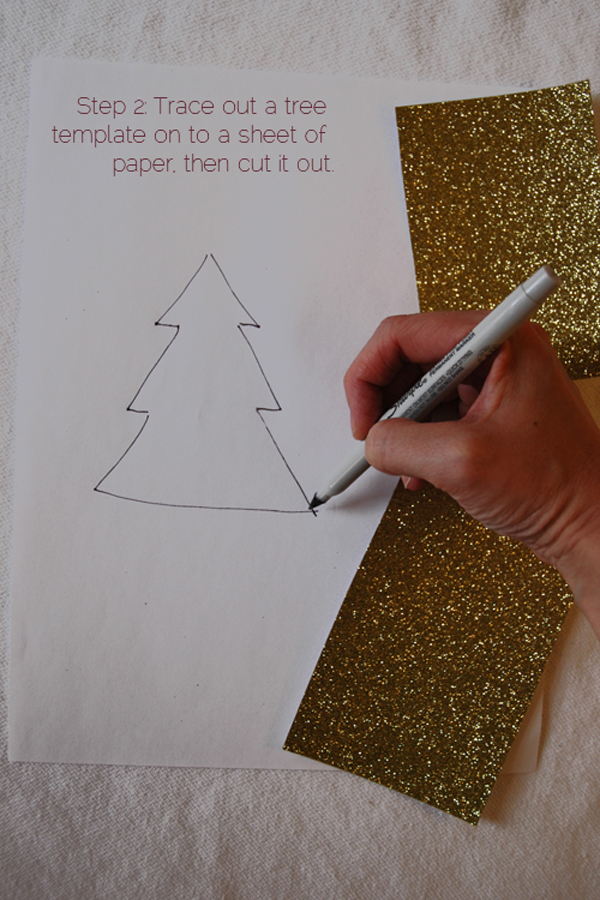 DIY 2 piece glitter christmas tree via courtney khail step 2