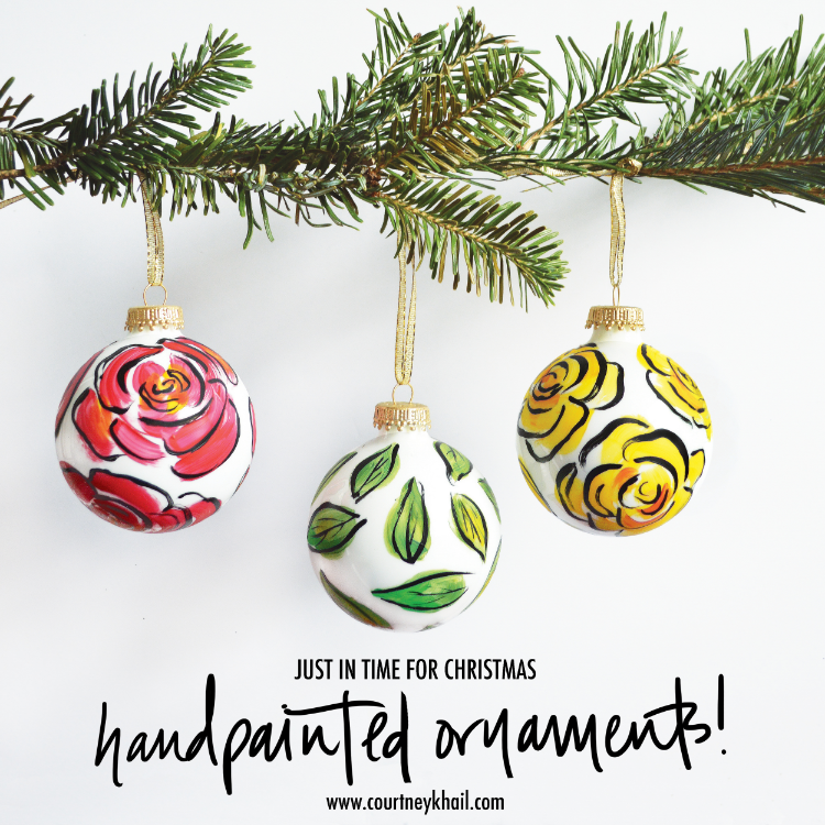 hand painted christmas ornaments by courtney khail