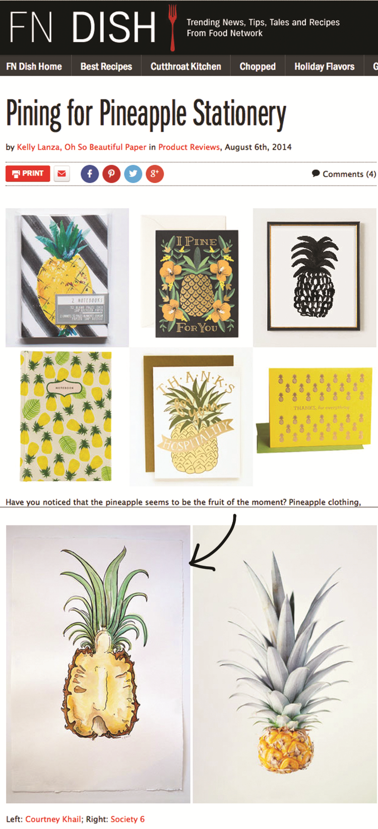 Pineapple Stationery | courtney khail watercolors | custom pineapple painting| on food network blog