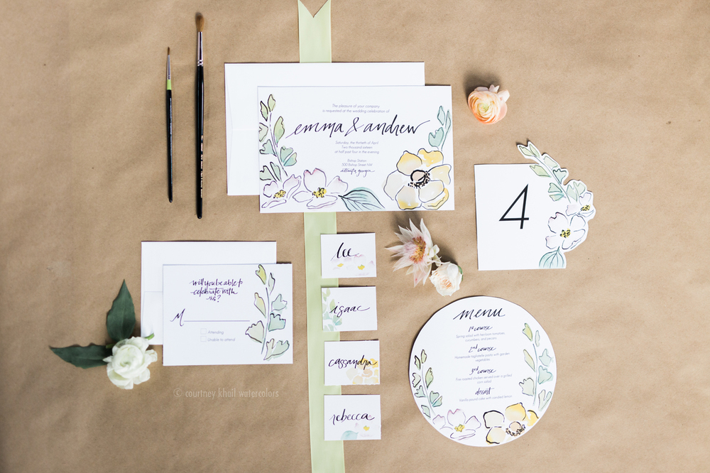 courtney khail watercolors | custom fine art watercolor wedding invitations | Atlanta, Georgia | rustic yellow wedding