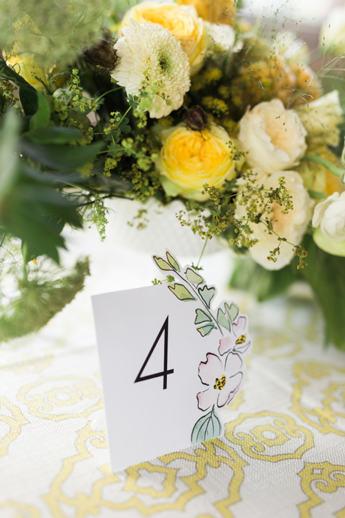 courtney khail watercolors | spring rustic wedding inspiration | custom watercolor wedding invitations | table number detail | atlanta, georgia
