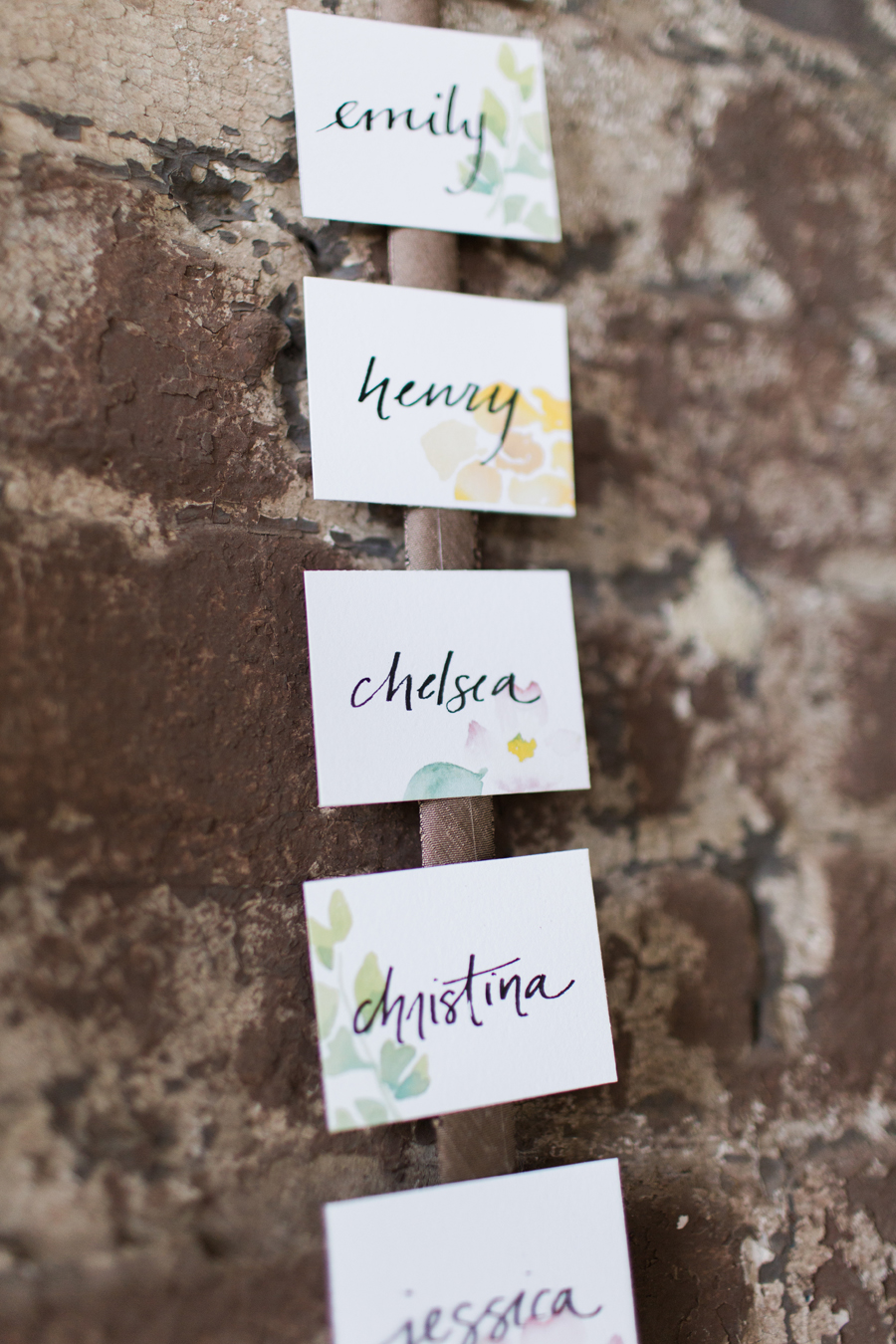 Custom watercolor escort card detail | courtney khail | Atlanta, Georgia | photo by Elle Golden