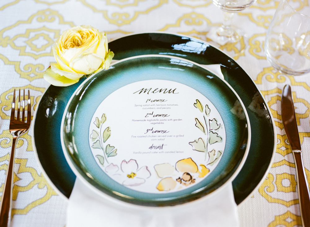 custom watercolor wedding menu | courtney khail watercolors | Atlanta, Georgia |photo by Elle Golden