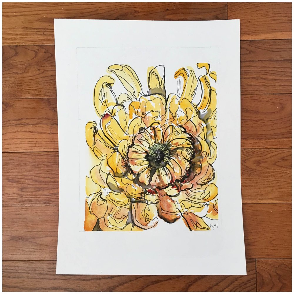 Fall Mum | original watercolor floral painting | Atlanta artist Courtney Khail