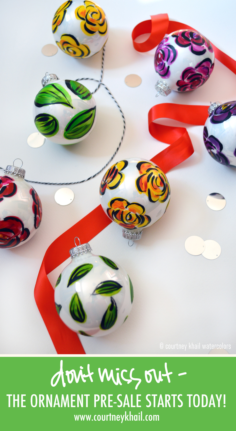 hand painted Christmas ornaments | Atlanta artist Courtney Khail
