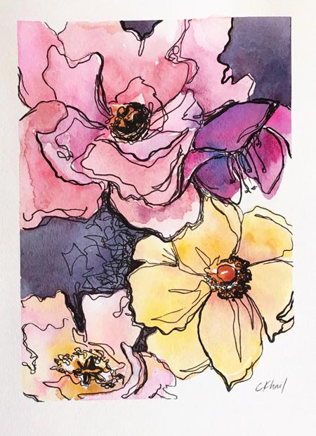 """Velvet Petals"" by Atlanta contemporary artist Courtney Khail | Watercolor Paintings"