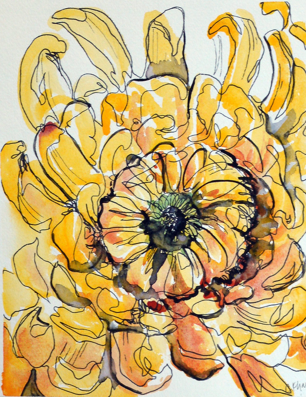 Courtney Khail | Untitled Yellow Zinnia | Atlanta Watercolor Artist