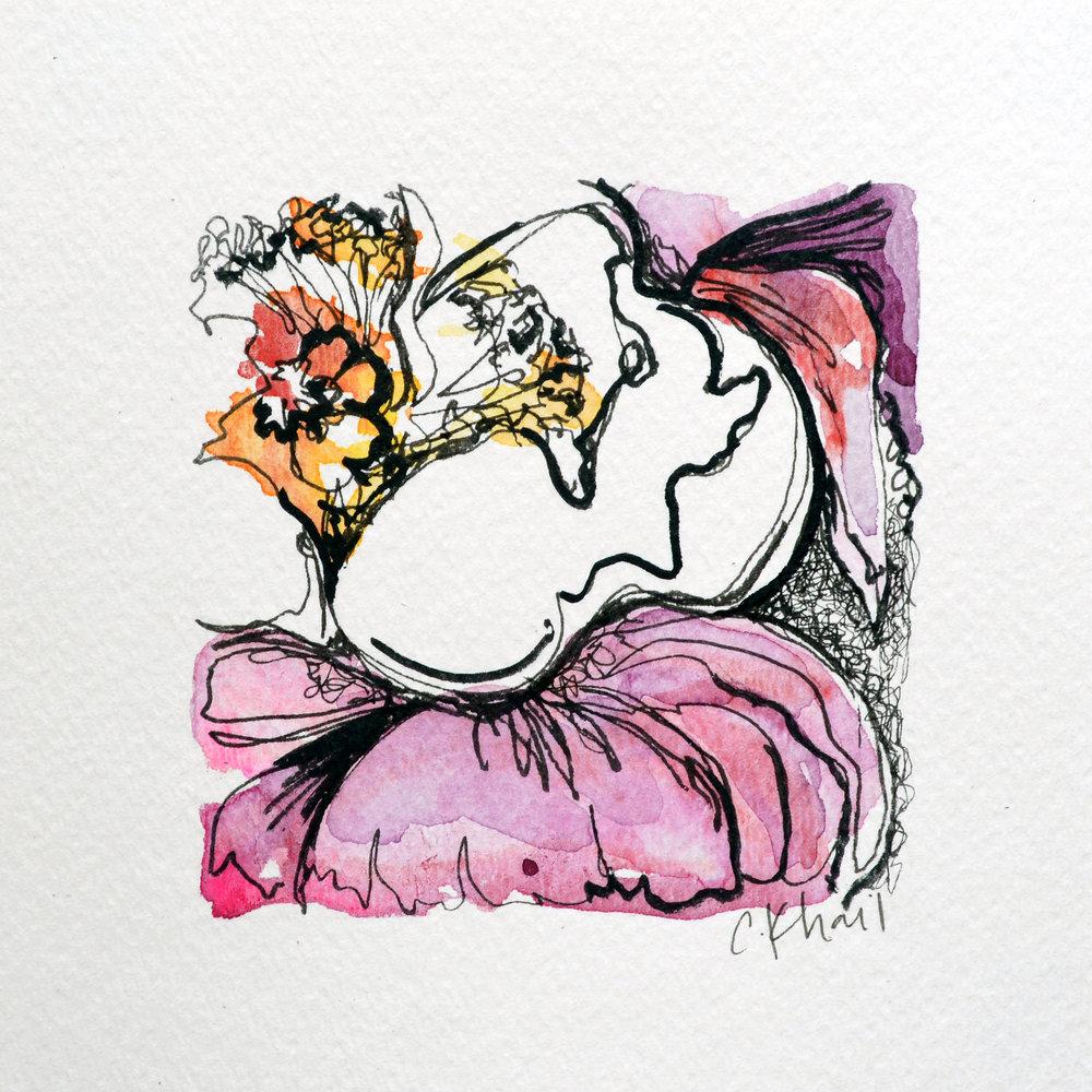 Courtney Khail | Botanical Study #9 (White Ranunculus) | Atlanta artist