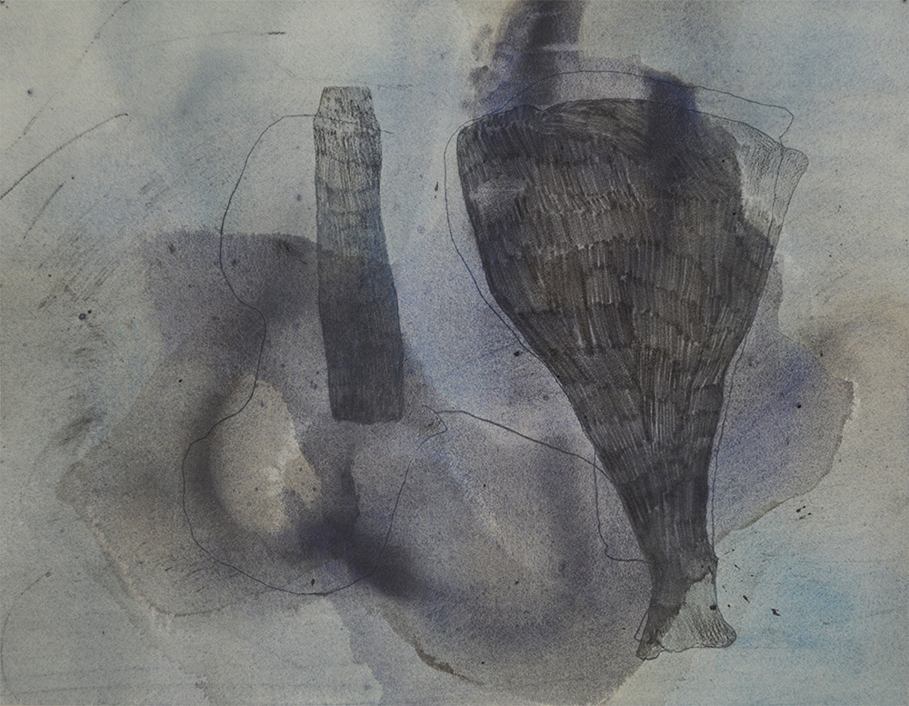 River Drawing 02 | Gouache, pencil, river water, found charcoal and river sediment on paper | 24 x 18 "