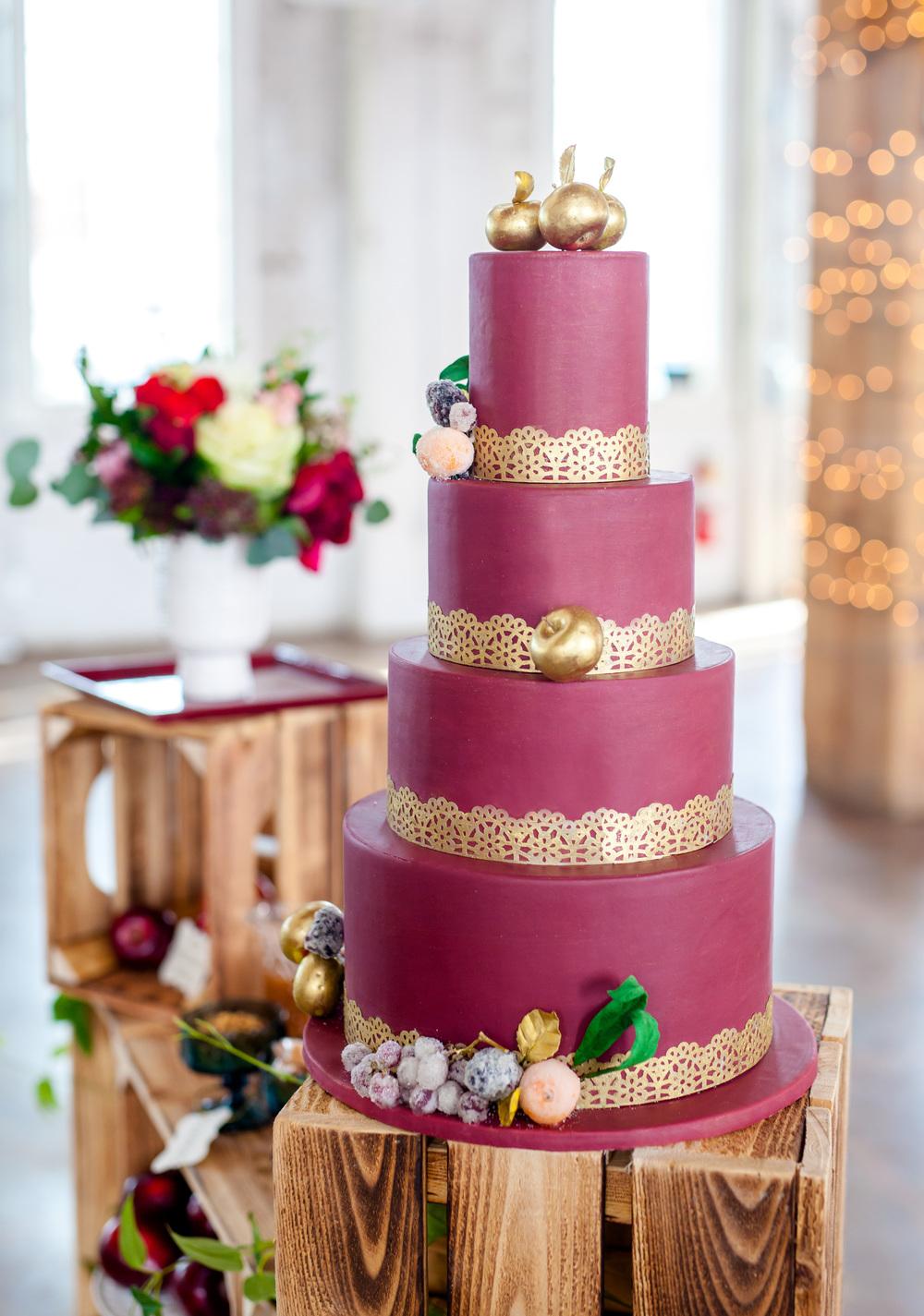 Burgundy and gold cake