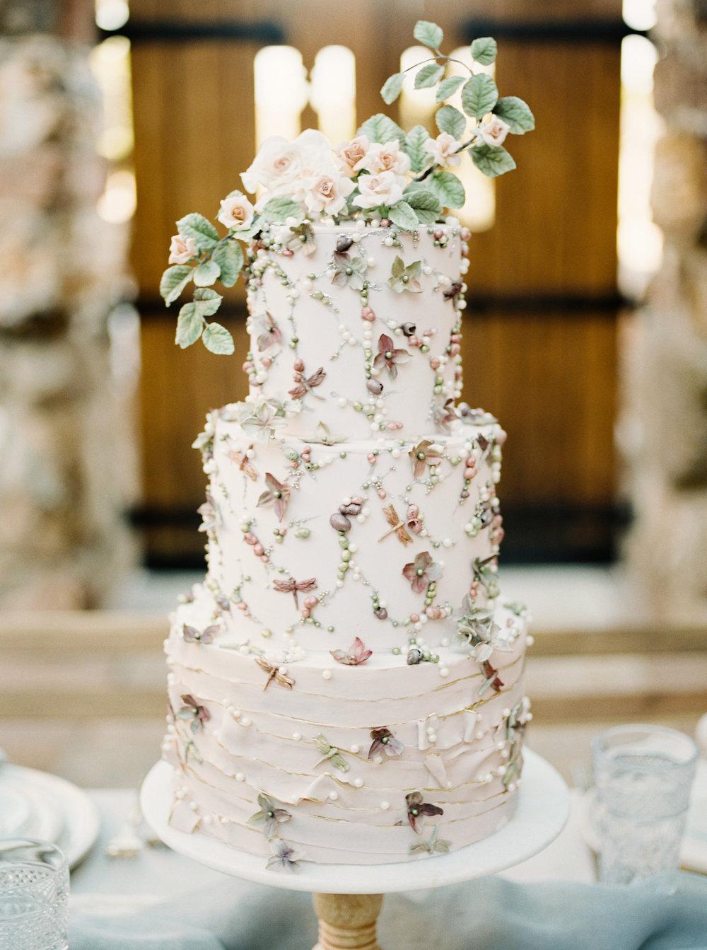 Romantic Beaded Wedding Cake