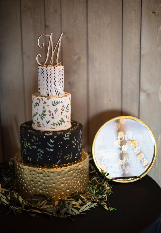 Custom painted wedding cake