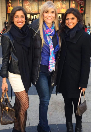 Dance enthusiasts Arden Greenspan-Goldberg, Nisha, and Priya outside of the Koch Theatre.