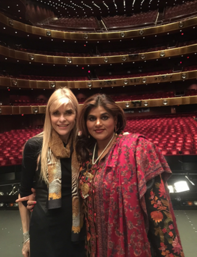 Dance enthusiasts Arden Greenspan-Goldberg and Joya Dass during a backstage tour.