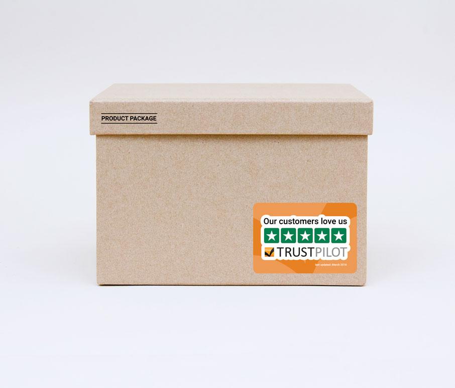 autocollant Trustpilot sur emballage