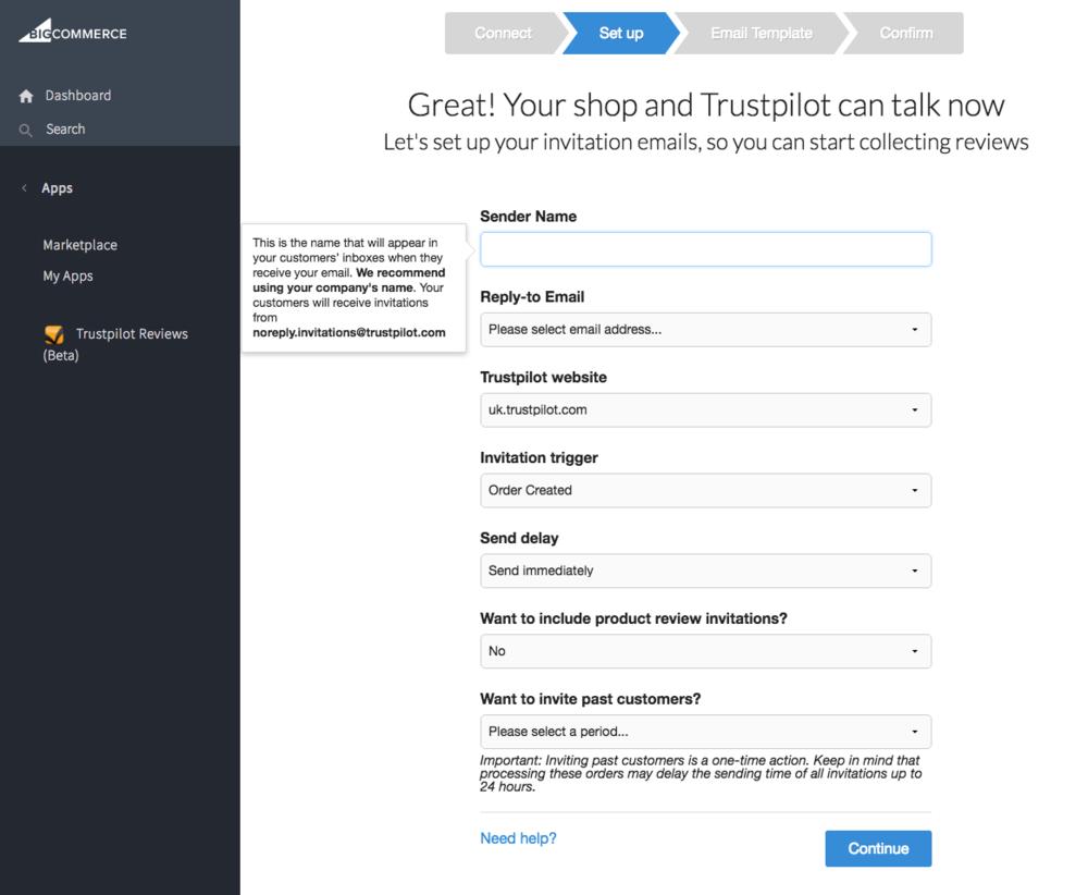 Installation Trustpilot BigCommerce