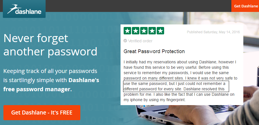 dashlane mot de passe trustpilot