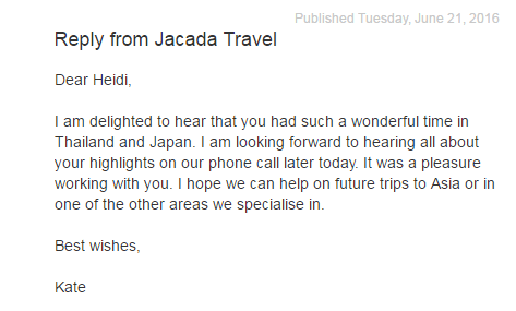 réponse de jacada travel sur trustpilot