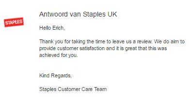 réponse de staples a un avis client