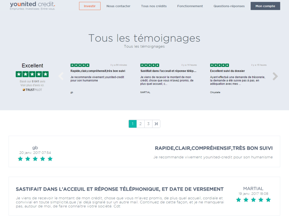 Page de témoignages sur www.younited-credit.com