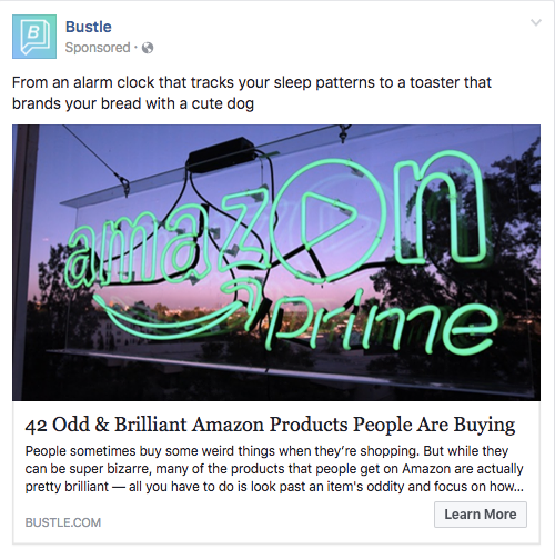 amazon prime publicité facebook