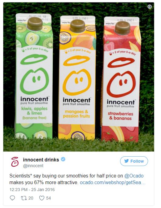 Exemple de publication amusante par Innocent Drinks sur les réseaux sociaux