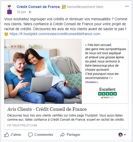 partage avis client trustpilot credit conseil de france facebook