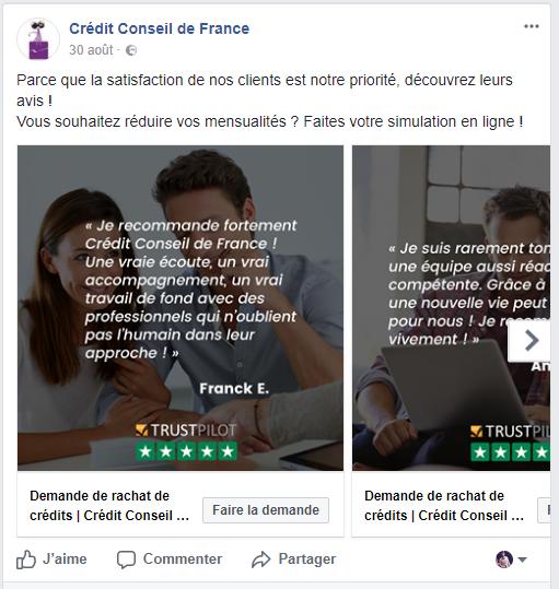 Avis clients Trustpilot sur la page Facebook de Crédit Conseil de France