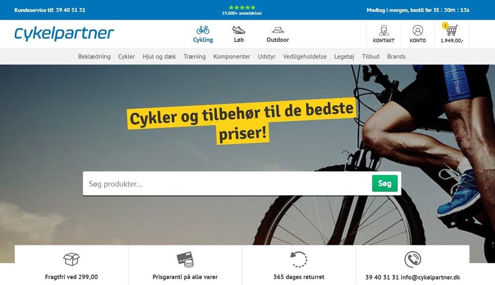 Cykelpartner affiche son succès - plus de 19 000 avis collectés - en header de son site web