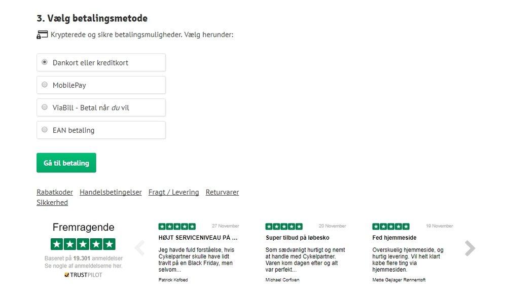 Pour réduire les abandons de paniers et encourager plus d'utilisateurs à passer à l'achat, Cykelpartner affiche un widget Trustpilot contenant ses avis sur la page de panier de son site web.