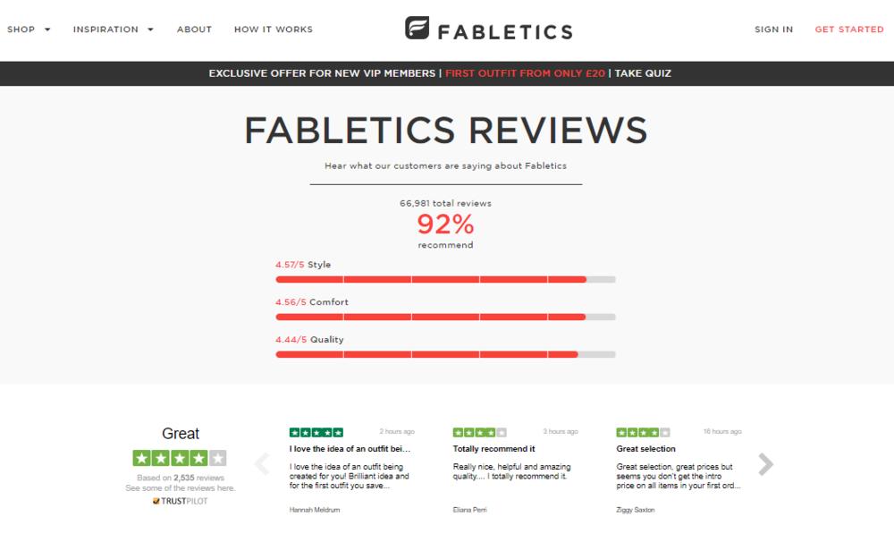 Fabletics affiche ses avis Trustpilot sur son site