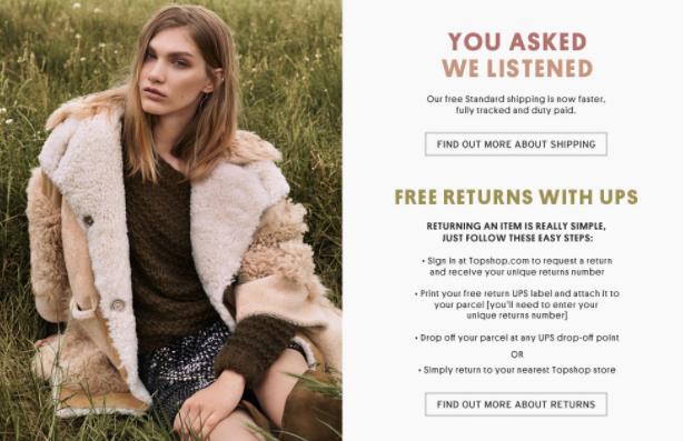 TopShop met en place des retours gratuits avec un suivi après avoir reçu les avis de ses clients