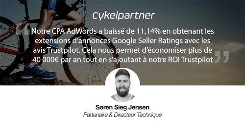 Cykelpartner réduit son CPA AdWords de 11,14% avec les avis Trustpilot