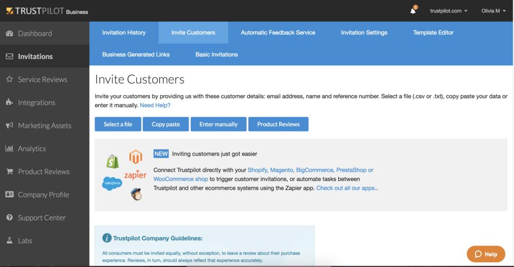 Votre Customer Success Manager vous aidera à envoyer votre premier lot d'invitations d'avis depuis la plateforme Trustpilot.