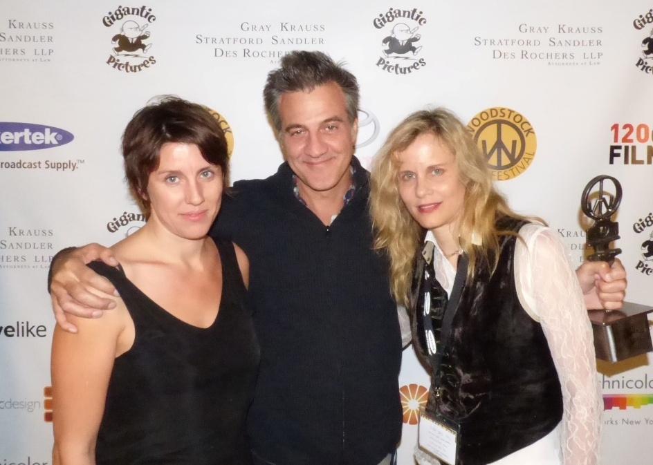 Jurors Leah Meyerhoff and Lori Singer with Ultra Indie winner  Ross Partridge (LAMB)  at 2015 Maverick Awards