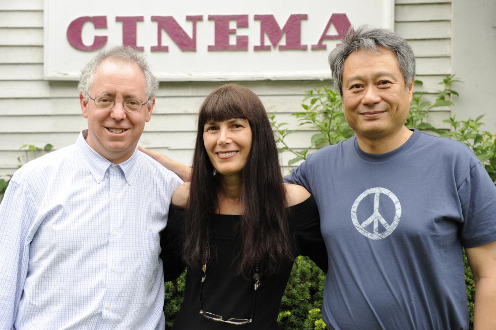 2008 Trailblazer recipient James Schamus   with WFF executive director Meira Blaustein  and  Academy Award winner Ang Lee