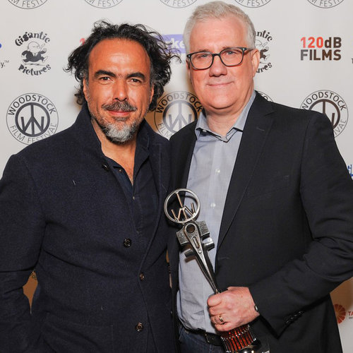 Alejandro G Iñárritu  presented the Trailblazer Award to  David Linde , CEO of  Participant Media . Photo by Laura Revercomb