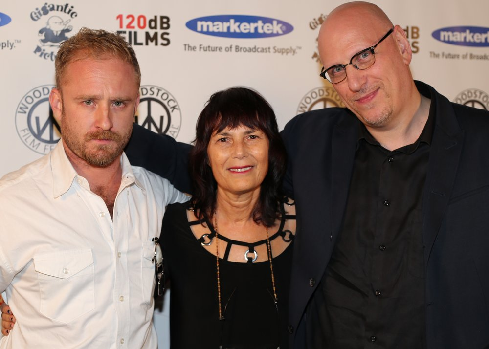 Renowned actor and award-presenter  Ben Foster , WFF Executive Director  Meira Blaustein with  Fiercely Independent Award Winner  Oren Moverman.    Photo by Laura R  evercomb