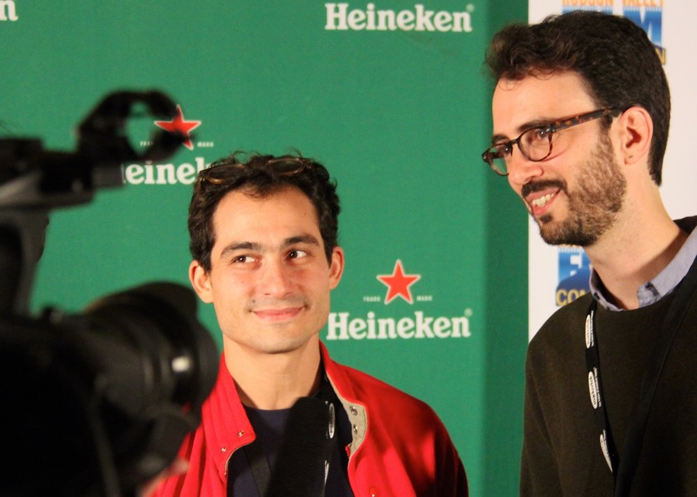 director Luigi Campi (My First Kiss and the People Involved) and cinematographer Giacomo Belletti at the Thursday night Filmmakers party at New World Home Cooking, sponsored by Heineken. Photo by Laurie Feldman