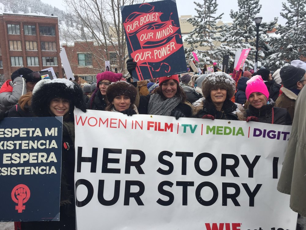 Women in Film/TV/Media/Digital organization at the Women's March on Main, Park City, Utah, including Woodstock Film Festival's executive director  Meira Blaustein