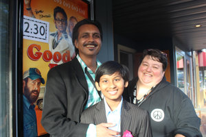 Anjul Nigam  and  Roni Akurati , stars of  GROWING UP SMITH  (then titled  GOOD OL' BOY ), at the 2015 Woodstock Film Festival with longtime Woodstock Film Festival venue manager Charlene Boswell.
