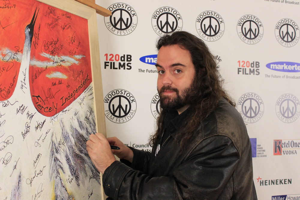 Director  Gregg Bray  ( LINER NOTES ) checks in at the 17th annual Woodstock Film Festival. (Photo by Naomi Schmidt)