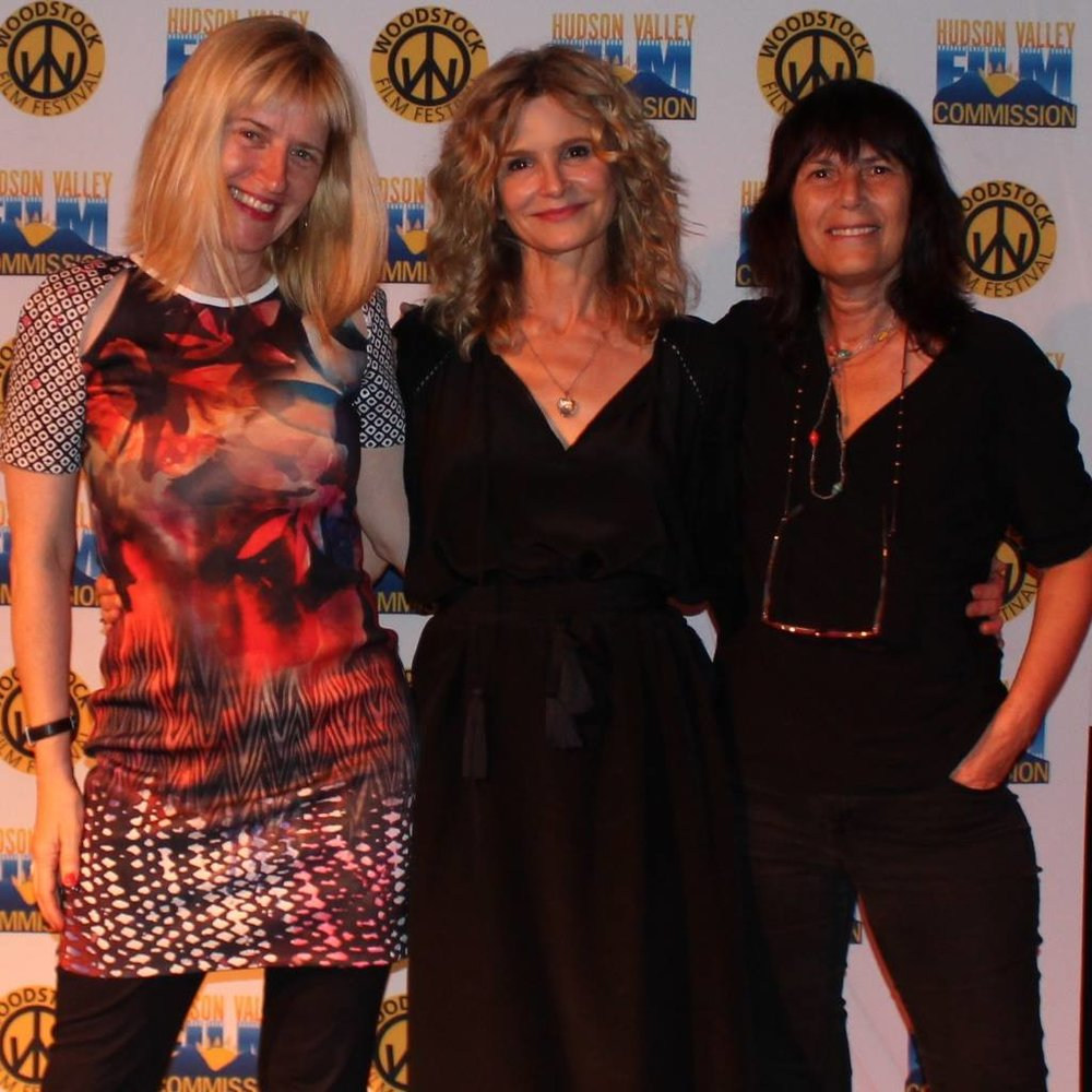 Meira Blaustein with Sabine Hoffman and Kyra Sedgwick at the STORY OF A GIRL screening