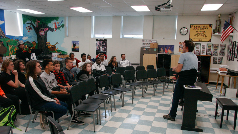 Kurt Volker talking at Career day at Onteora school at the 2017 Woodstock Film Festival. Photo by: Ben Caswell