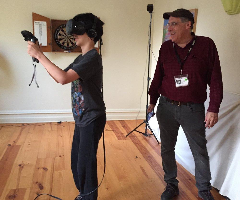 Producer William Horberg and son at the Virtual Reality Experience Photo by: Meira Blaustein