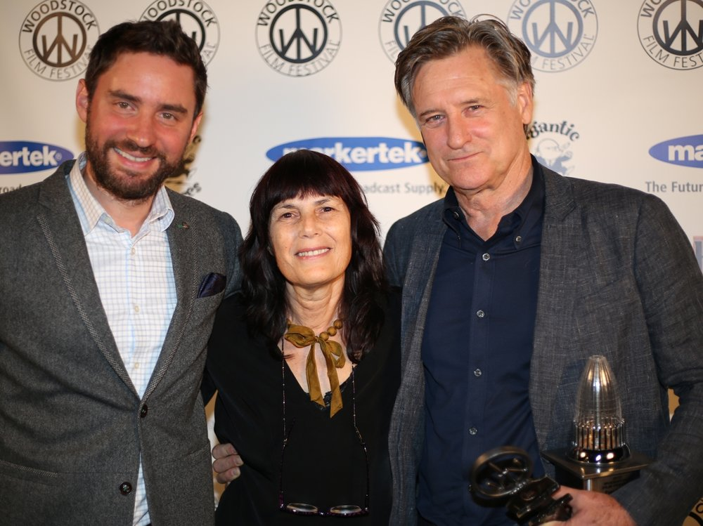 Director Jared Moshe, Meira Blaustein and Excellence in Acting Award recipient Bill Pullman at the 2017 Woodstock Film Festival Maverick Awards.