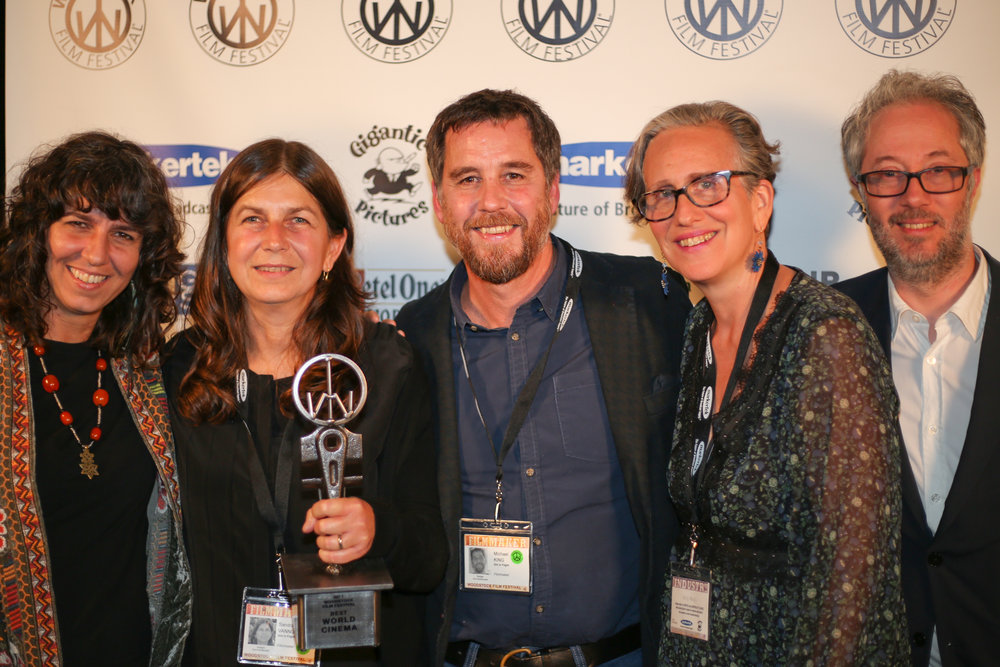 The jurors with Michael King and Sandra Vannucchi, GIRL IN FLIGHT winner of the World Cinema Award at the 2017 Woodstock Film Festival Maverick Awards
