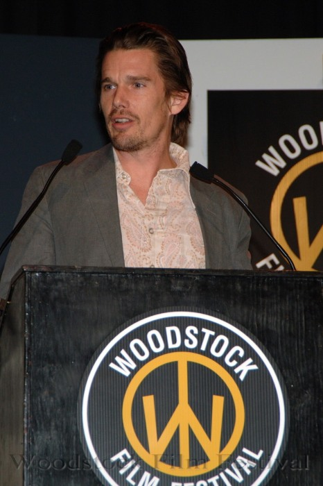 Ethan Hawke presenting the Trailblazer Award to John Sloss at the 6th Woodstock Film Festival