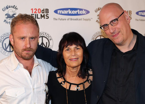 Ben Foster, Woodstock Film Festival executive director Meira Blaustein, and Oren Moverman at the 2016 Woodstock Film Festival