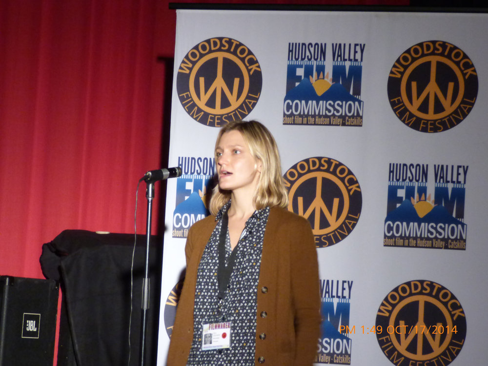 Sara Colangelo hosting a Q&A for her film at the 2014 Woodstock Film Festival